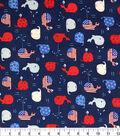 Patriotic Cotton Fabric -Whales