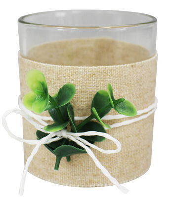 Save the Date Greenery Linen Wrapped Votive Holder