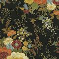 Premium Quilt Cotton Fabric-Warm Flowers Black Metallic