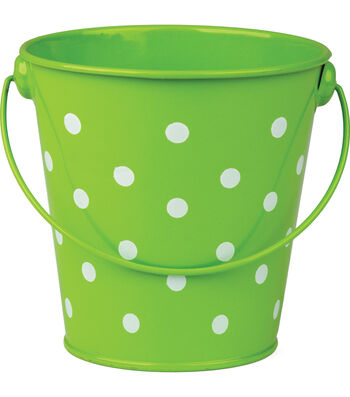 Teacher Created Resources Polka Dots Bucket, Lime, Pack of 6