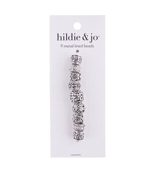 hildie & jo Mix & Mingle 9 pk Metal Lined Beads-Antique Silver
