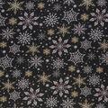 Christmas Cotton Fabric-Bold Red Gold Snowflake On Black