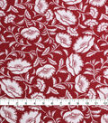 Silky Crepe Fabric-Rust Ivory Folk Floral