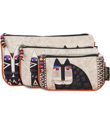 Laurel Burch Cosmetic Bags 3/Pkg Wild Cats