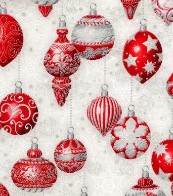 "Christmas Cotton Fabric 44""-Decorative Ornaments"