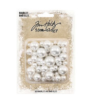 "Idea-Ology Pearl Baubles .313"" To .75"" 60/Pkg-Undrilled Cream Pearls, , hi-res"