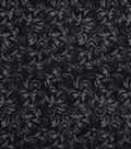 Keepsake Calico Cotton Fabric -Black Textured Scroll
