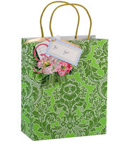 Anna Griffin Green Damask Cub Gift Bag 4 Count, , hi-res