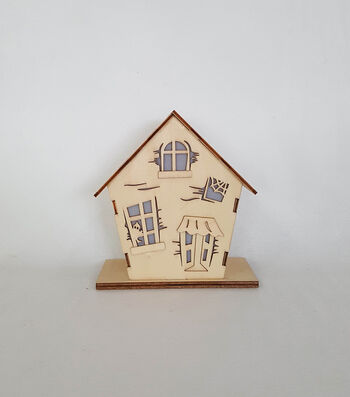 Maker's Halloween Laser Wood- Haunted House Small Light Up