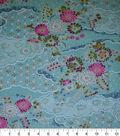 Premium Cotton Print Fabric -Blue & Metallic Rolling Garden