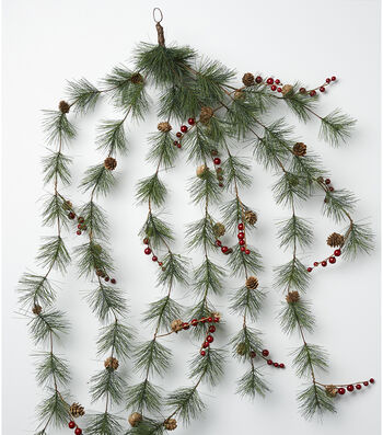 Blooming Holiday Long Needle Pine, Berry & Pinecone Garland-Green & Red