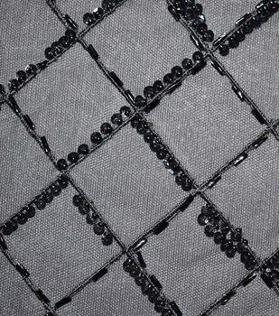 Gianna Hand-Beaded Lattice on Mesh Fabric 51''