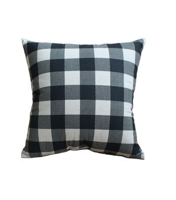 Hudson 43 Farm 18''x18'' Pillow-Black Checks