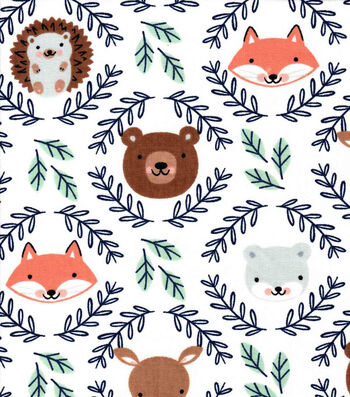 Nursery Cotton Fabric-Eamon Circle Faces