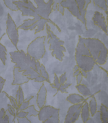 Harvest Cotton Fabric-Gray Leaves with Outlines