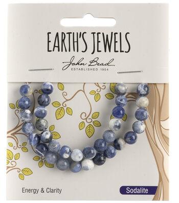 Earth's Jewels Semi-Precious Round 6mm Beads-Sodalite