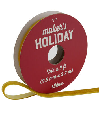 Maker's Holiday Traditional Holiday Velvet Ribbon 3/8''x9'-Yellow & Gold
