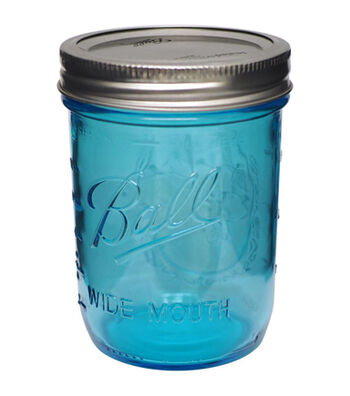 Ball 12 pk Wide Mouth Pint Canning Jars-Blue