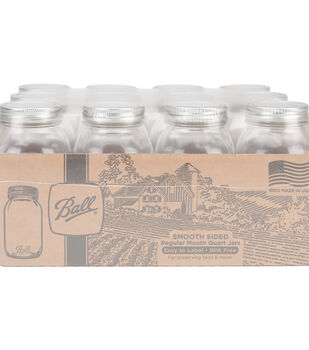 Ball 12 pk Quart Smooth Sided Regular Mouth Glass Canning Jars