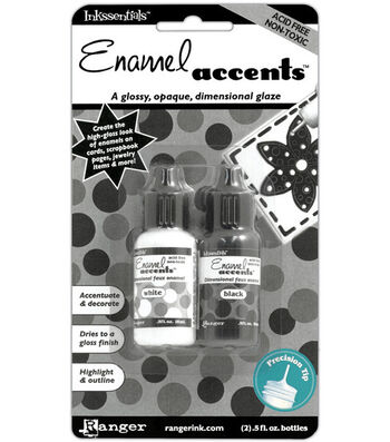 Ranger .5 oz. Inkssentials Enamel Accents-2PK/Black & White