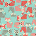 Snuggle Flannel Fabric -Coral & Gray Foxes