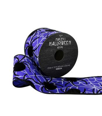 Maker's Halloween Ribbon 2.5''x12'-Spiders on Purple