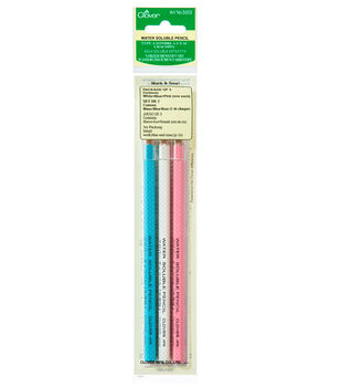 Clover Water Soluble Pencil-3/Pkg White, Pink & Blue