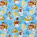 Christmas Snuggle Flannel Fabric-Snowman Family