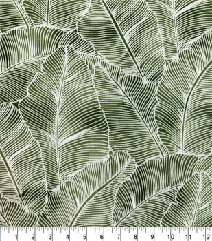 Crinkle Rayon Silky Fabric-Green & White Big Leaf