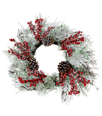 Blooming Holiday Christmas 22'' Glitter Pinecone & Berry Wreath