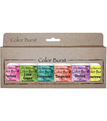 Ken Oliver Crafts Color Burst 6 pk Watercolor Powder-Caribbean Brights