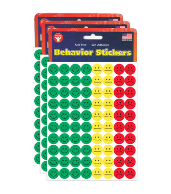 Hygloss Behavior Stickers 1200 Per Pack, 3 Packs