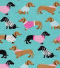 Snuggle Flannel Fabric 42\u0027\u0027-Dachshunds in Sweaters