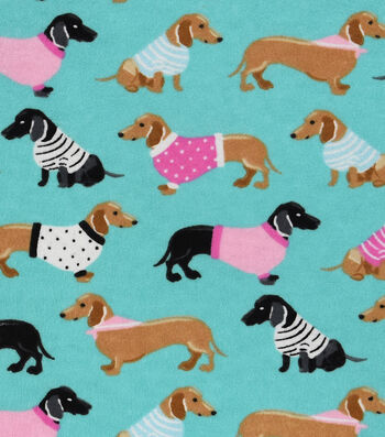 Snuggle Flannel Fabric 42''-Dachshunds in Sweaters