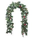 Blooming Holiday Christmas 4\u0027\u0027x66\u0027\u0027 Holly & Red Berry Chain Garland