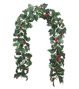 blooming holiday christmas 4x66 holly red berry chain garland - Holiday Time Christmas Decor 9 Flocked Garland Green