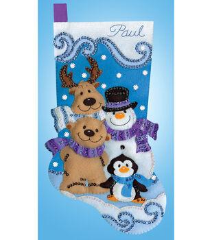 Applique Felt Stocking Kit-Winter Friends