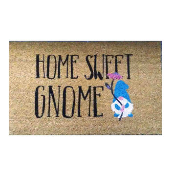 In the Garden Tufted Coir Mat-Home Sweet Gnome on Natural