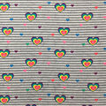 Doodles Cotton & Spandex Fabric-Hearts on Heather Gray & Black Stripes