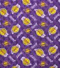 LA Lakers Fleece Fabric -Logo on Purple