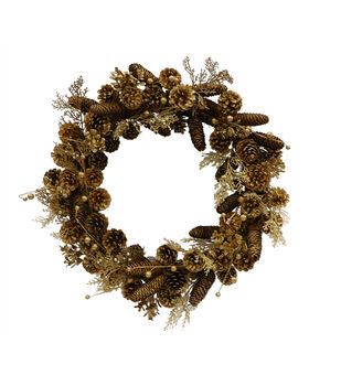 Handmade Holiday Christmas 24'' Adorn Pinecone Wreath-Gold