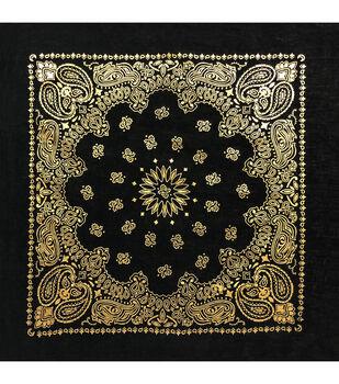 Bandana 22''x22''-Gold Paisley on Black