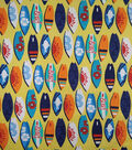 Doodles Juvenile Apparel Fabric -Surfs Up Pucker on Yellow