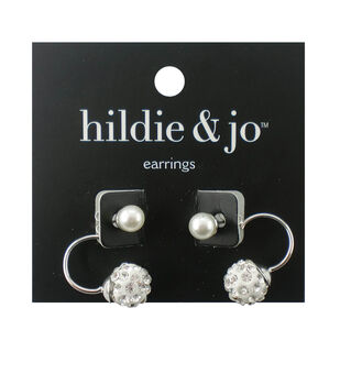 hildie & jo Silver Earrings-Pearl Bead with Clear Crystals