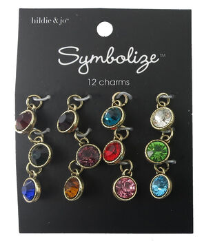 hildie & jo Symbolize 12 Pack Mini Antique Gold Birthstone Charms