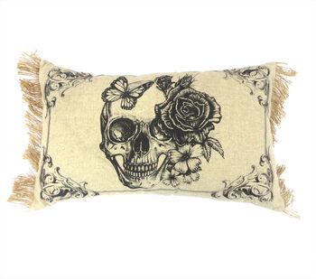 Maker's Halloween 12''x20'' Lumbar Pillow-Vintage Skull