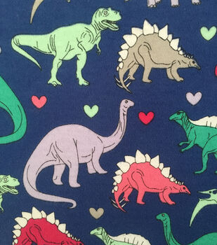 Doodles Juvenile Apparel Fabric -  Dino Gal Interlock