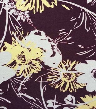 a0d405a1b42 Apparel Knit Fabric 57''-White & Yellow Sketched Flowers on Purple