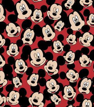 Disney Mickey Mouse Fleece Fabric 59''-Tossed Mickey Heads