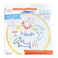 Penguin & Fish Embroidery Kit 7\u0022 Round-Fishies Customizable